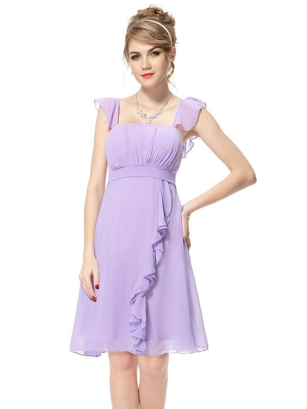 Chiffon Square Neckline Short/Mini Empire with Ruffles Bridesmaid Dresses #PWD01013392