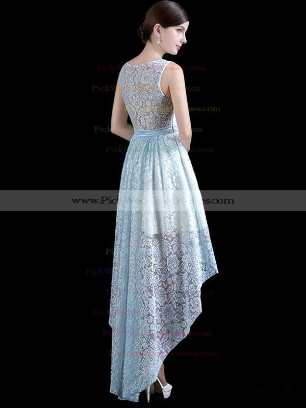 Lace Scoop Neck Asymmetrical A-line with Sashes / Ribbons Bridesmaid Dresses #PWD01013411