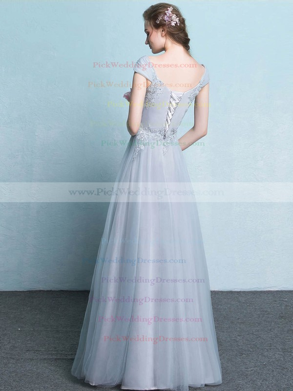 Tulle V-neck Floor-length A-line with Appliques Lace Bridesmaid Dresses #PWD01013425