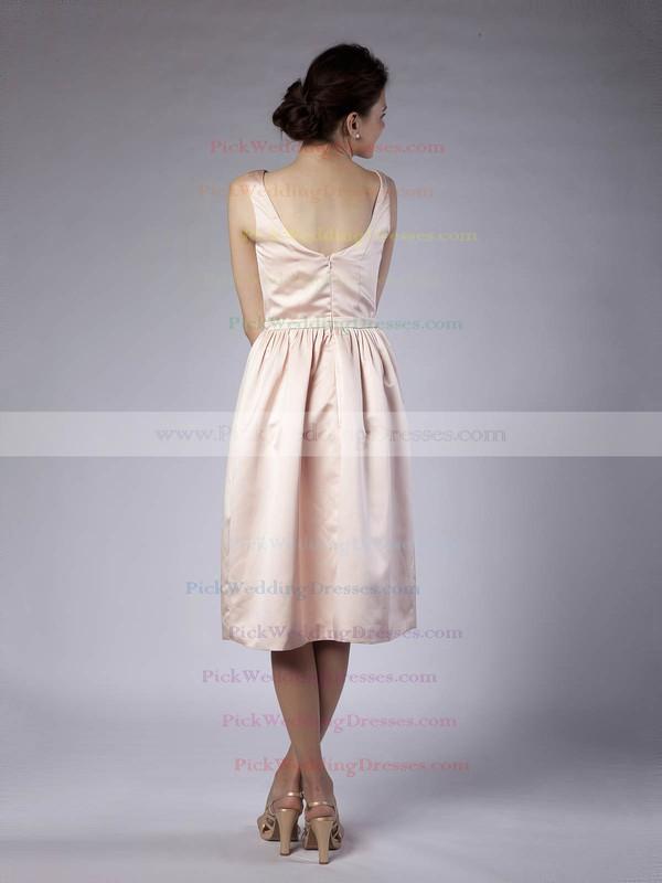 Sheath/Column Tea-length Satin Sashes/Ribbons Bateau Bridesmaid Dresses #PWD02013678