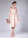 Sheath/Column Tea-length Satin Sashes/Ribbons Bateau Bridesmaid Dresses #PWD02013678