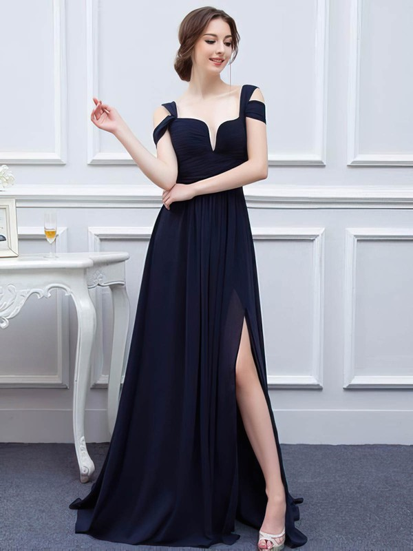 Chiffon V-neck Sweep Train A-line with Split Front Bridesmaid Dresses #PWD01013426