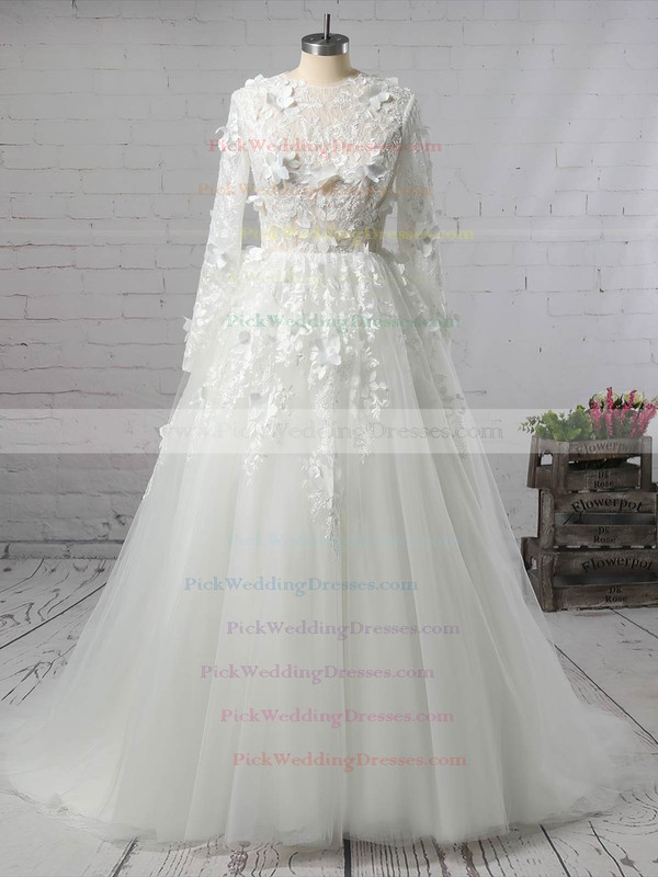 Tulle Scoop Neck Court Train Ball Gown with Appliques Lace Wedding Dresses #PWD00023008