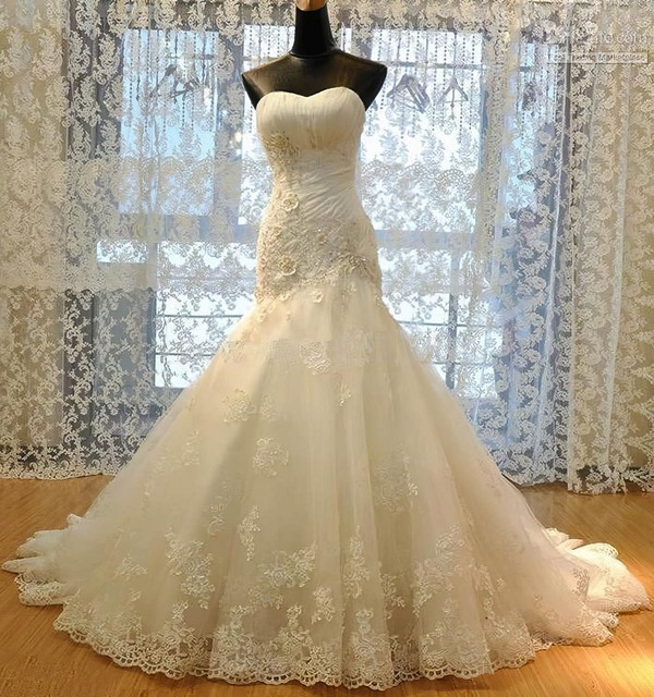 Tulle Sweetheart Sweep Train Trumpet/Mermaid with Appliques Lace Wedding Dresses #PWD00023009