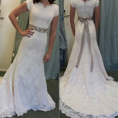 Lace V-neck Sweep Train A-line with Sashes / Ribbons Wedding Dresses #PWD00023011