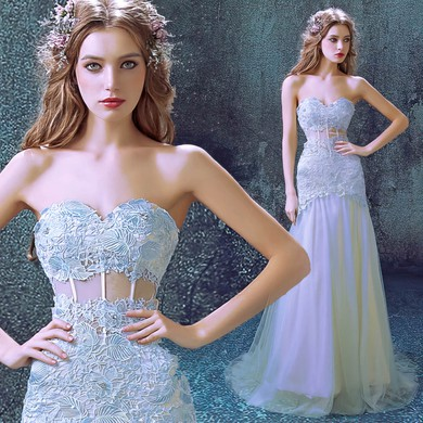 Tulle Sweetheart Sweep Train Trumpet/Mermaid with Appliques Lace Wedding Dresses #PWD00023012