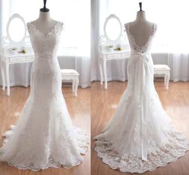 Tulle V-neck Sweep Train Trumpet/Mermaid with Sashes / Ribbons Wedding Dresses #PWD00023013