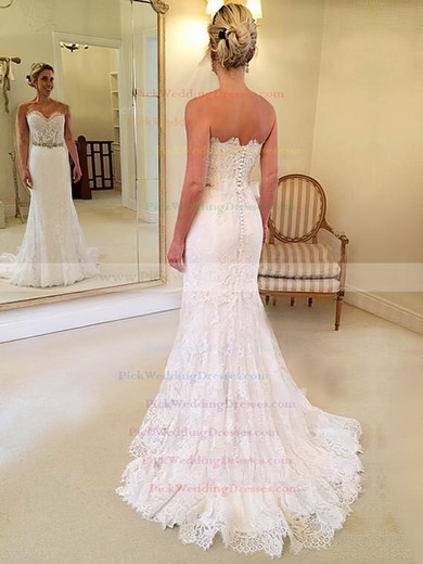 Lace Sweetheart Sweep Train Trumpet/Mermaid with Sashes / Ribbons Wedding Dresses #PWD00023014