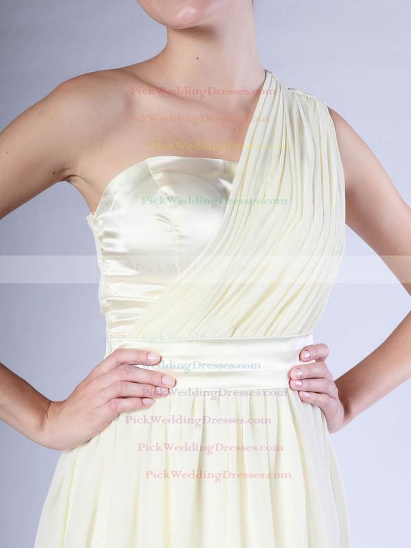 Sheath/Column Knee-length Chiffon Pleats One Shoulder Bridesmaid Dresses #PWD02013683