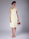 Sheath/Column Knee-length Chiffon Pleats One Shoulder Bridesmaid Dresses #PWD02013683