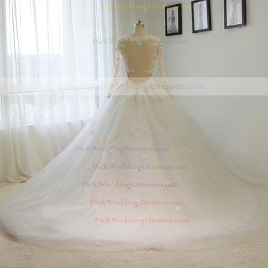 Tulle Scoop Neck Court Train Ball Gown with Sequins Wedding Dresses #PWD00023015