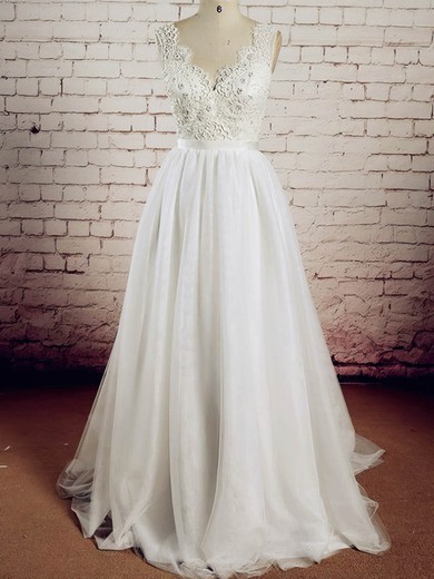 Tulle V-neck Sweep Train A-line with Appliques Lace Wedding Dresses #PWD00023017