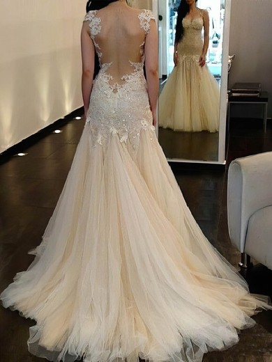 Tulle Scoop Neck Sweep Train Trumpet/Mermaid with Sequins Wedding Dresses #PWD00023018
