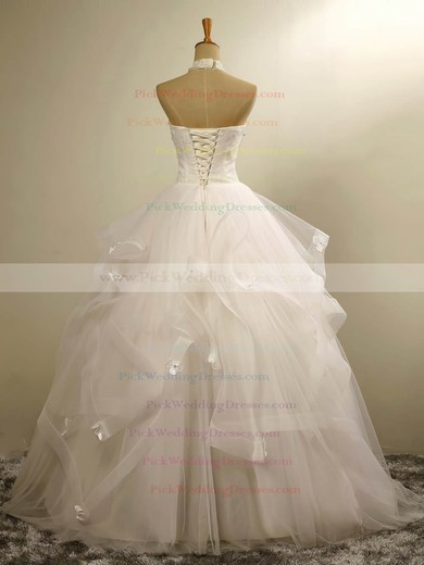 Tulle Halter Floor-length Ball Gown with Beading Wedding Dresses #PWD00023020