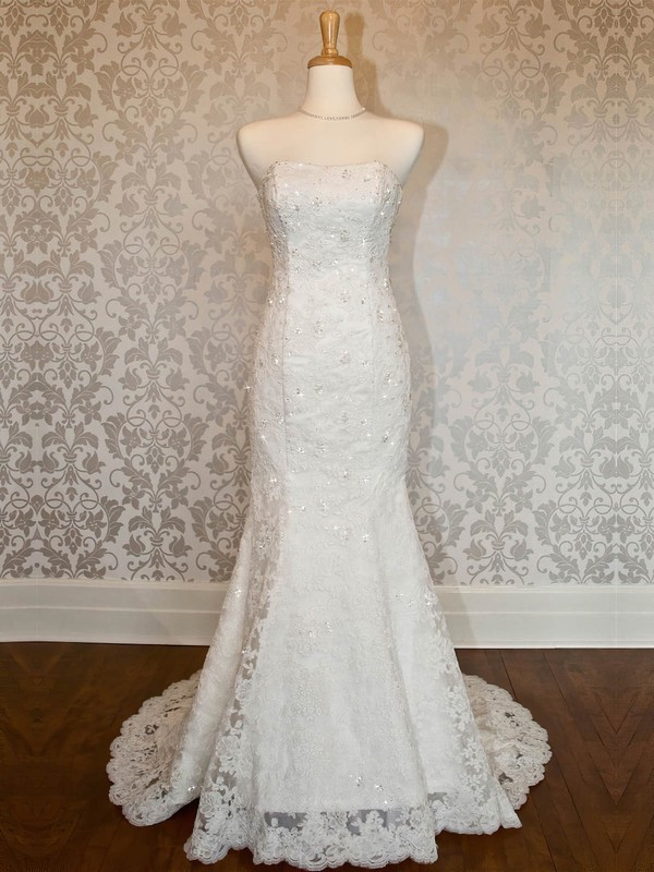 Tulle Strapless Sweep Train Trumpet/Mermaid with Appliques Lace Wedding Dresses #PWD00023021