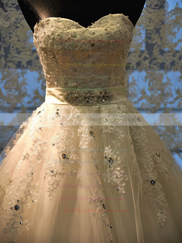 Tulle Sweetheart Court Train Ball Gown with Beading Wedding Dresses #PWD00023022