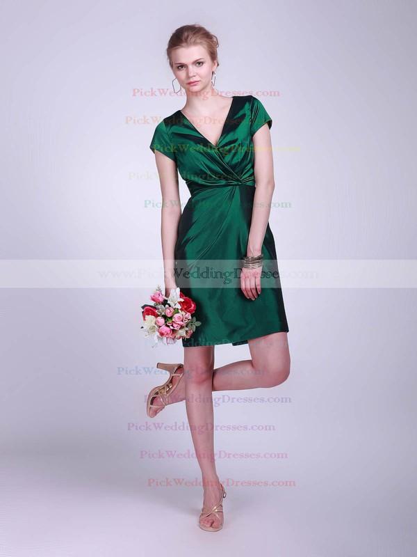 Sheath/Column Short/Mini Taffeta Ruched V-neck Bridesmaid Dresses #PWD02042130