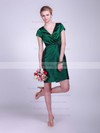 Sheath/Column Short/Mini Taffeta Ruched V-neck Bridesmaid Dresses #PWD02042130