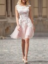Tulle Scoop Neck Short/Mini A-line with Appliques Lace Wedding Dresses #PWD00023025