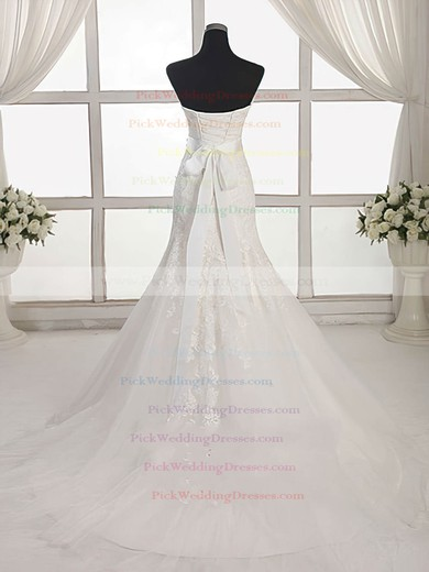 Tulle Sweetheart Sweep Train Trumpet/Mermaid with Appliques Lace Wedding Dresses #PWD00023027