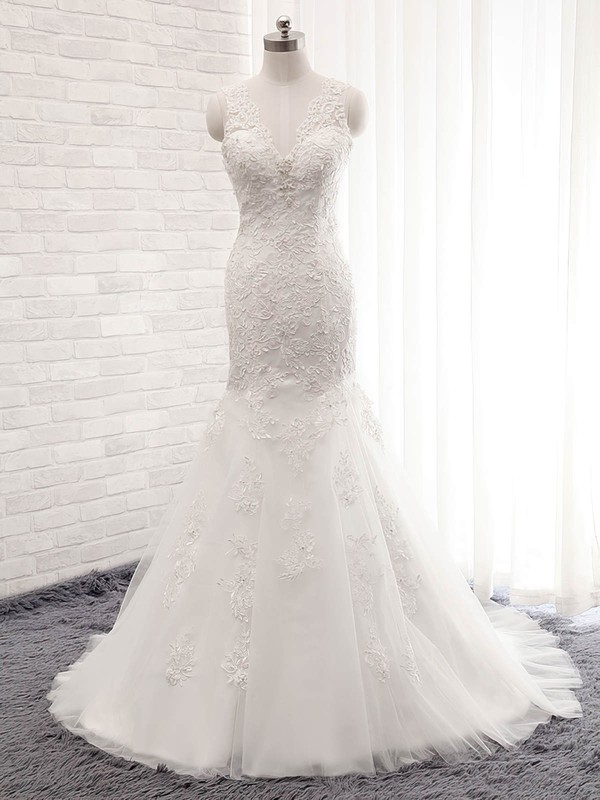 Tulle V-neck Sweep Train Trumpet/Mermaid with Sequins Wedding Dresses #PWD00023028
