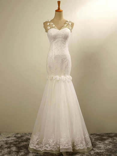 Tulle V-neck Floor-length Trumpet/Mermaid with Flower(s) Wedding Dresses #PWD00023029