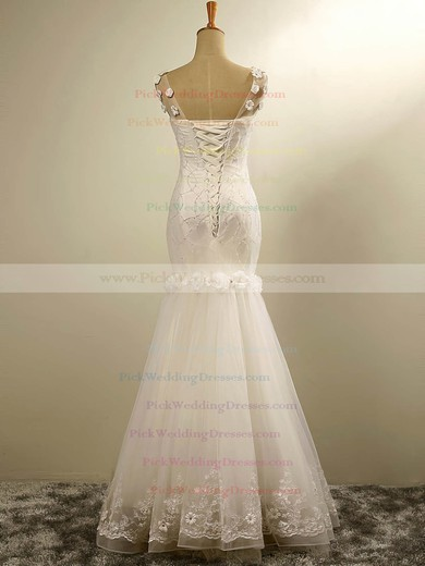 Tulle V-neck Floor-length Trumpet/Mermaid with Flower(s) Wedding Dresses #PWD00023029