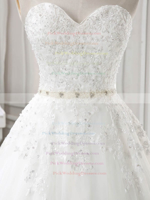 Tulle Sweetheart Chapel Train Ball Gown with Sashes / Ribbons Wedding Dresses #PWD00023030