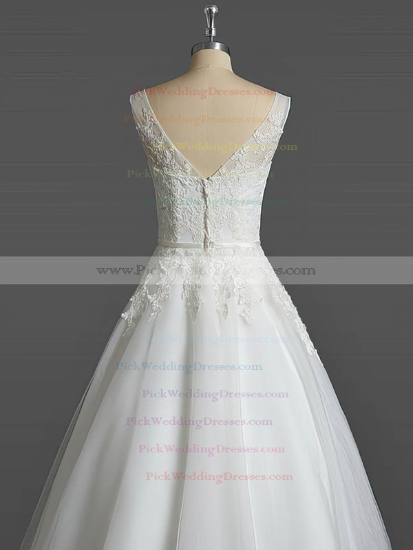Tulle V-neck Tea-length Ball Gown with Sashes / Ribbons Wedding Dresses #PWD00023031