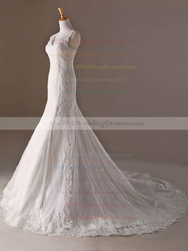 Tulle V-neck Sweep Train Trumpet/Mermaid with Appliques Lace Wedding Dresses #PWD00023032