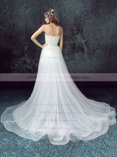 Tulle Lace Strapless Sweep Train A-line with Sashes / Ribbons Wedding Dresses #PWD00023033
