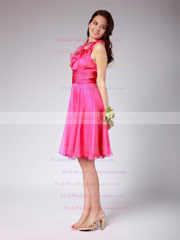 Empire Knee-length Chiffon Ruffles V-neck Bridesmaid Dresses #PWD02042140