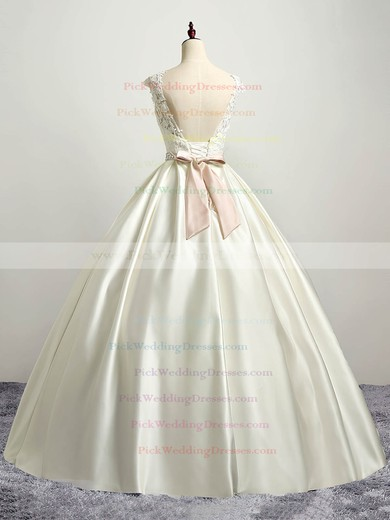 Satin Tulle Scoop Neck Floor-length Ball Gown with Appliques Lace Wedding Dresses #PWD00023035