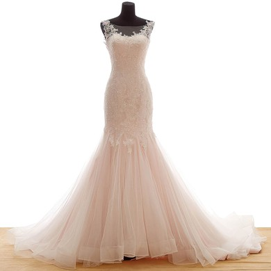 Tulle Scoop Neck Sweep Train Trumpet/Mermaid with Appliques Lace Wedding Dresses #PWD00023036