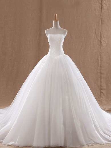 Lace Tulle Strapless Court Train Ball Gown with Ruffles Wedding Dresses #PWD00023037