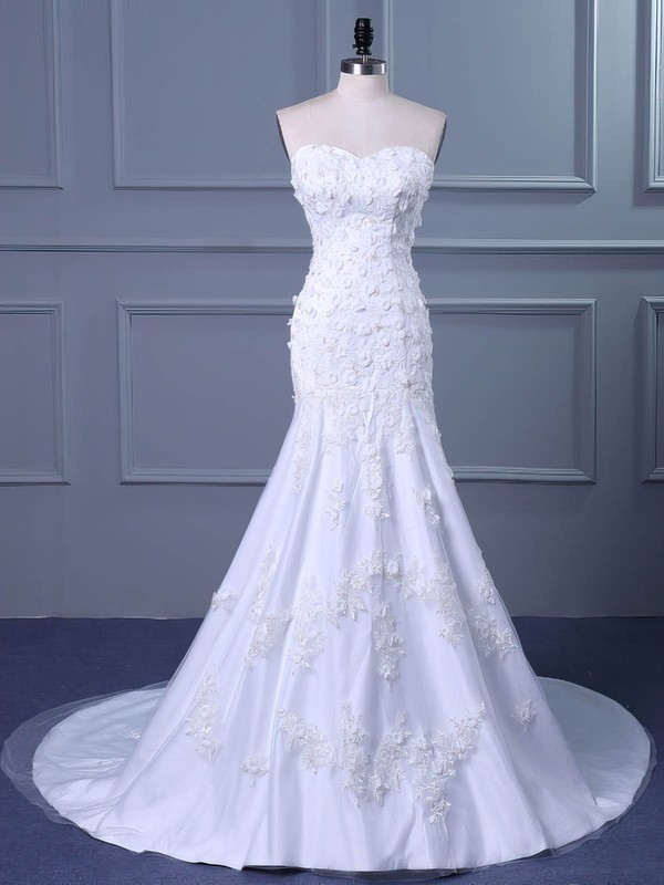 Tulle Sweetheart Sweep Train Trumpet/Mermaid with Flower(s) Wedding Dresses #PWD00023038