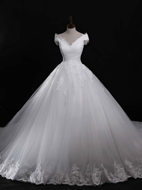 Tulle V-neck Cathedral Train Ball Gown with Appliques Lace Wedding Dresses #PWD00023040