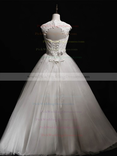 Tulle Sweetheart Floor-length Ball Gown with Beading Wedding Dresses #PWD00023041