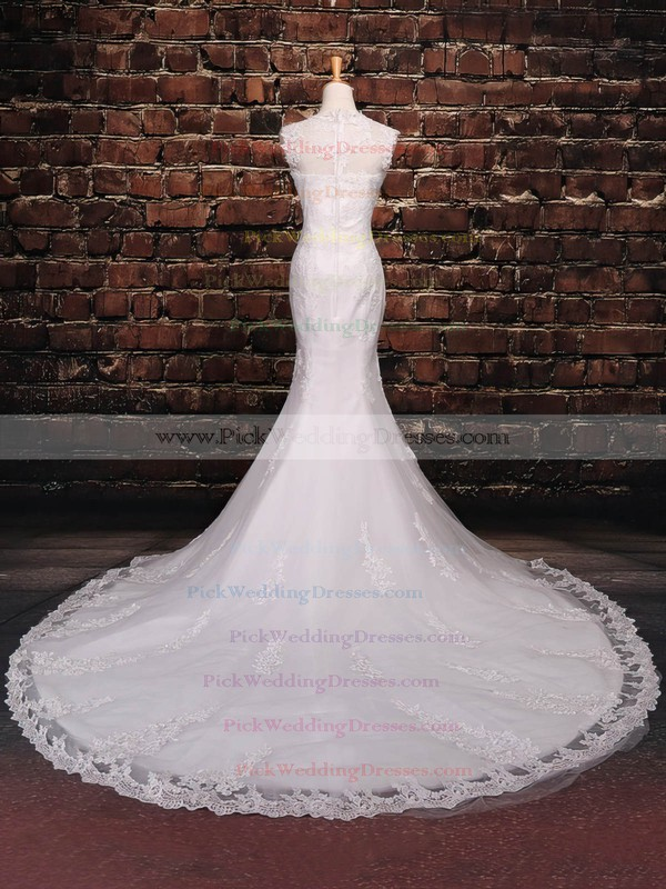 Tulle Scoop Neck Court Train Trumpet/Mermaid with Sequins Wedding Dresses #PWD00023042