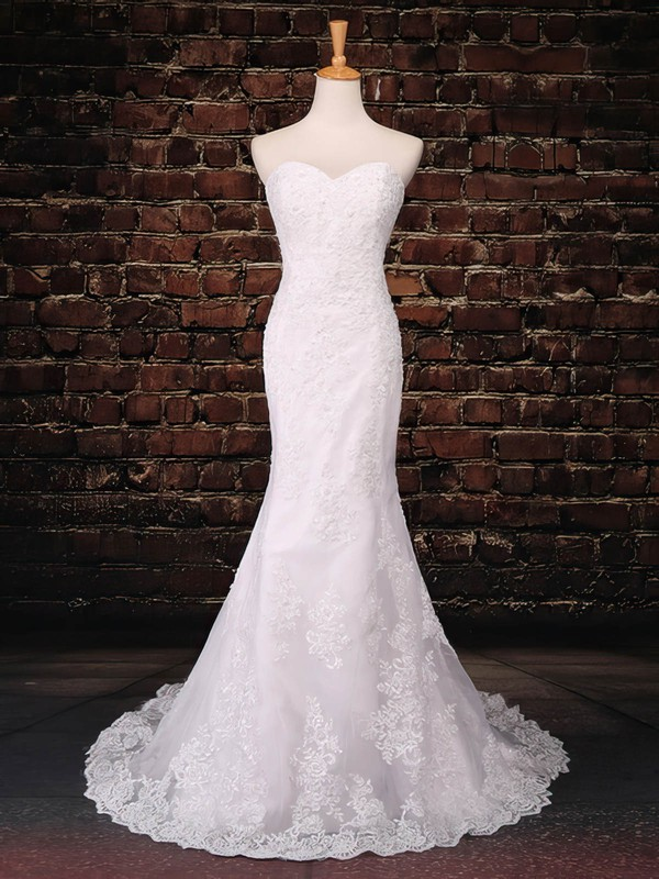 Tulle Sweetheart Sweep Train Trumpet/Mermaid with Appliques Lace Wedding Dresses #PWD00023043