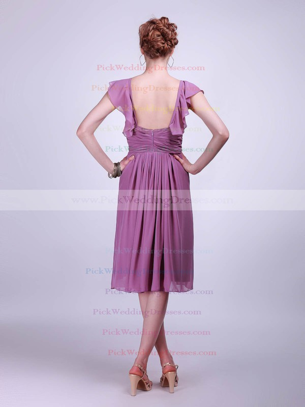 A-line Knee-length Chiffon Pleats Straps Bridesmaid Dresses #PWD02042142