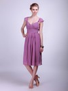 A-line Knee-length Chiffon Pleats Straps Bridesmaid Dresses #PWD02042142