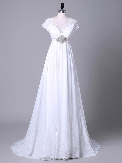 Tulle Chiffon V-neck Sweep Train Empire with Sashes / Ribbons Wedding Dresses #PWD00023045