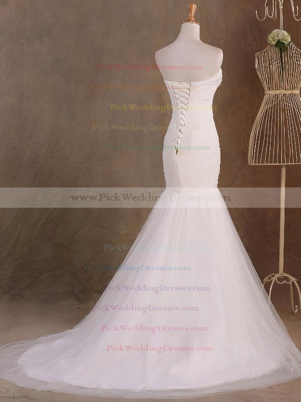 Tulle Sweetheart Sweep Train Trumpet/Mermaid with Ruffles Wedding Dresses #PWD00023046