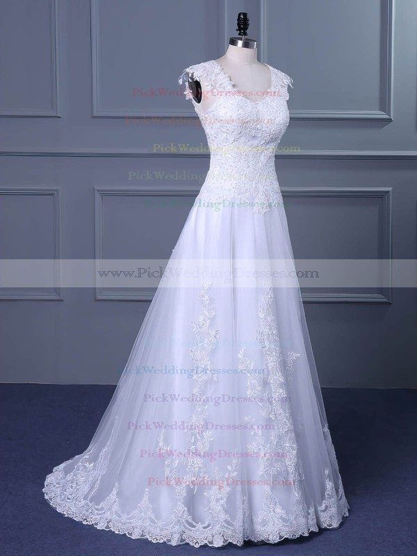 Tulle V-neck Sweep Train Princess with Appliques Lace Wedding Dresses #PWD00023047