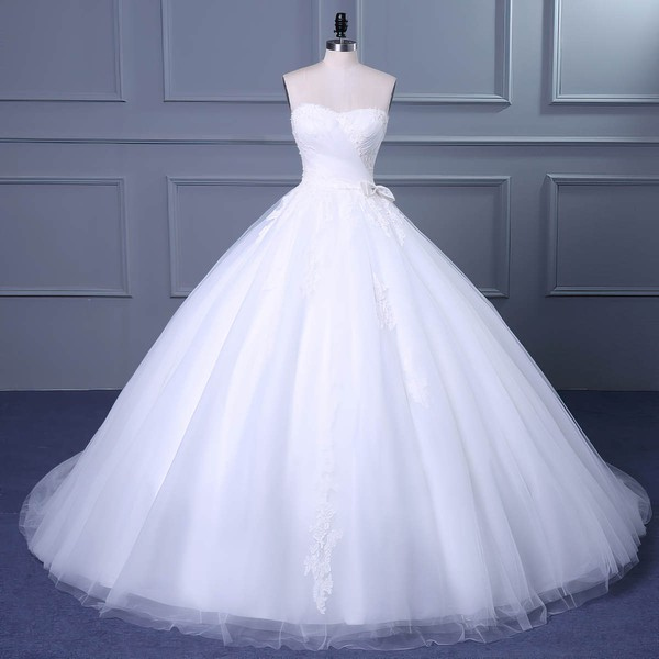 Tulle Sweetheart Court Train Ball Gown with Appliques Lace Wedding Dresses #PWD00023048