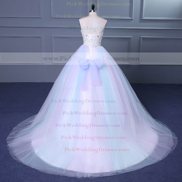 Tulle Sweetheart Court Train Ball Gown with Beading Wedding Dresses #PWD00023049