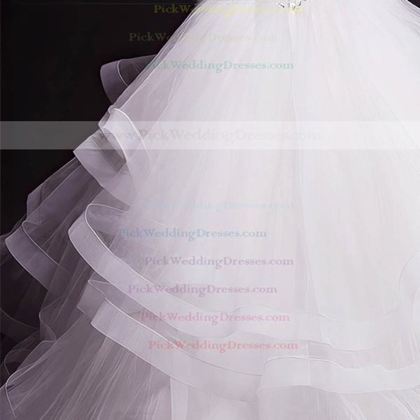 Tulle Sweetheart Court Train Ball Gown with Beading Wedding Dresses #PWD00023050