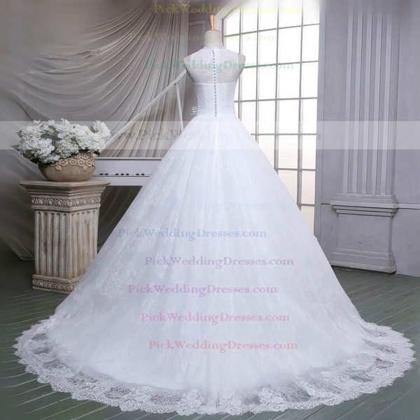 Lace Scoop Neck Sweep Train Ball Gown with Sashes / Ribbons Wedding Dresses #PWD00023051