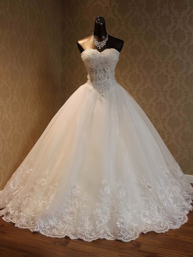 Organza Sweetheart Floor-length Ball Gown with Beading Wedding Dresses #PWD00023052